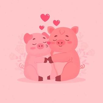 Linda pareja de cerdos de san valentín