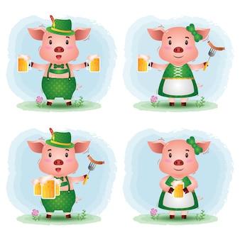 Una linda pareja de cerdos con el tradicional vestido de oktoberfest