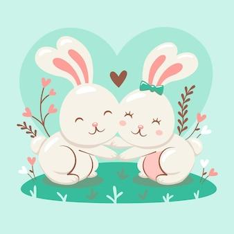 Linda pareja de conejitos ilustrada