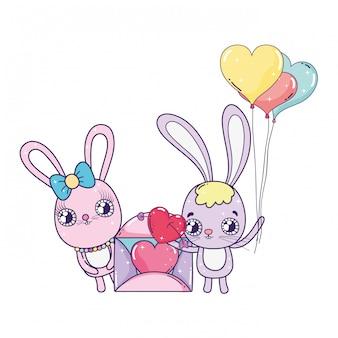 Linda pareja de conejos con globos helio día de san valentín