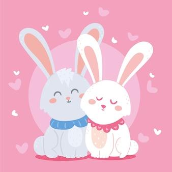 Linda pareja de conejos de san valentín