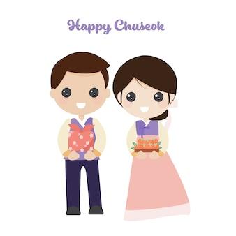 Linda pareja coreana en traje tradicional para el festival de chuseok