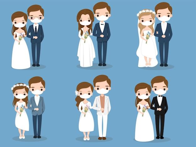 Linda pareja con dibujos animados de mascarilla para el diseño de tarjetas de boda