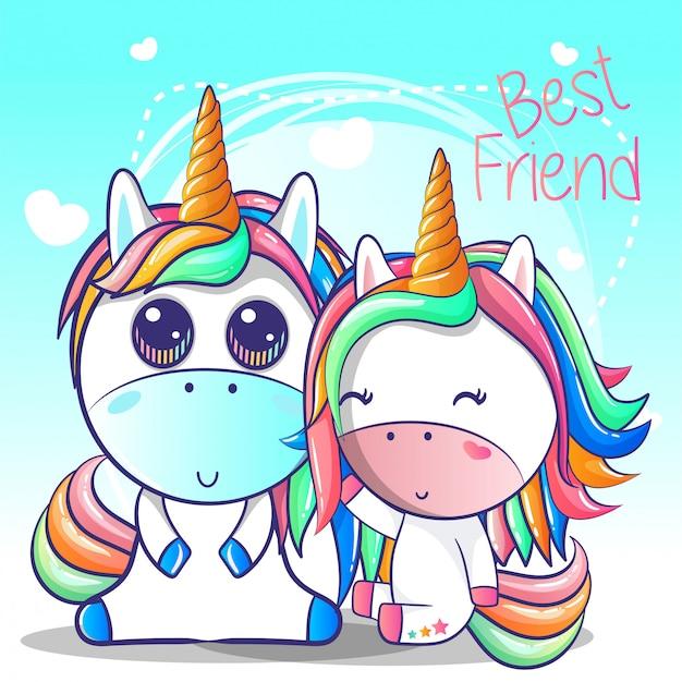 Linda pareja de dibujos animados de unicornio