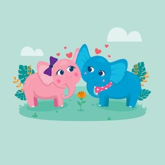 Linda pareja de elefantes de san valentín
