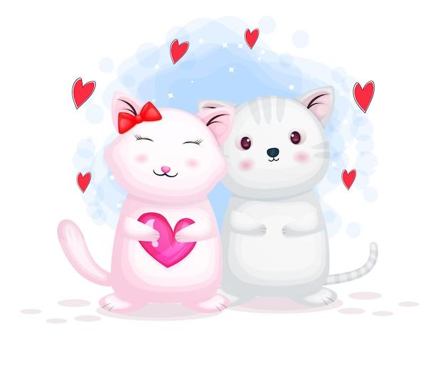 Linda pareja de gatitos de san valentín