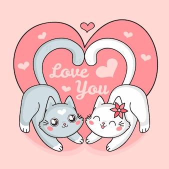 Linda pareja de gatos de san valentín