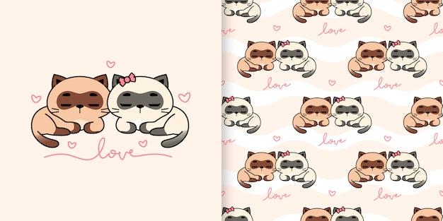 Linda pareja gatos siameses ilustración y patrones sin fisuras