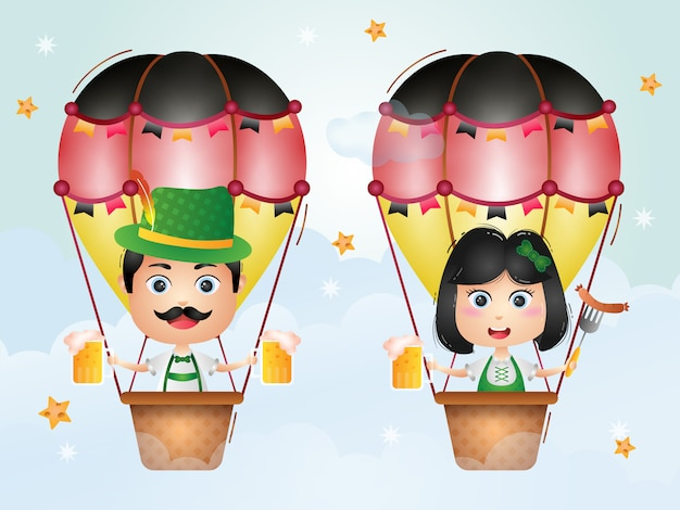 Linda pareja en globo aerostático con el tradicional vestido de oktoberfest