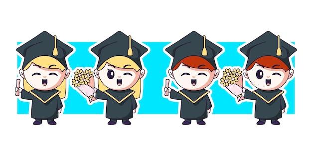 Linda pareja graduados con ramo de flores