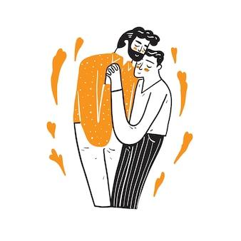 Linda pareja de homosexuales se abrazan y se besan.