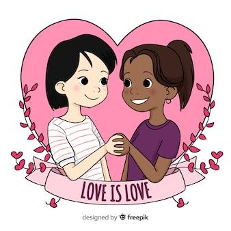Linda pareja ilustrada para el día de san valentín