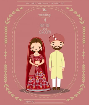 Linda pareja india para invitaciones de boda tarjeta