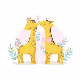 Linda pareja de jirafas de san valentín