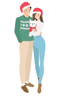 Linda pareja joven feliz en traje de suéter de navidad con ilustración de vector de estilo plano de perro