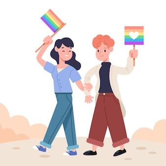 Linda pareja de lesbianas con bandera lgbt ilustrada