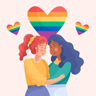Linda pareja de lesbianas con bandera lgbt