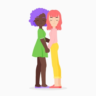 Linda pareja de lesbianas ilustrada