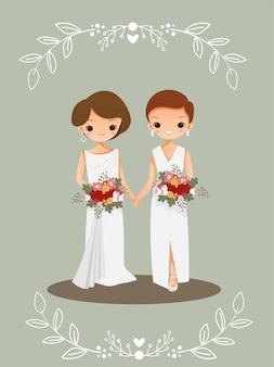 Linda pareja lgbt en tarjeta de invitación de boda