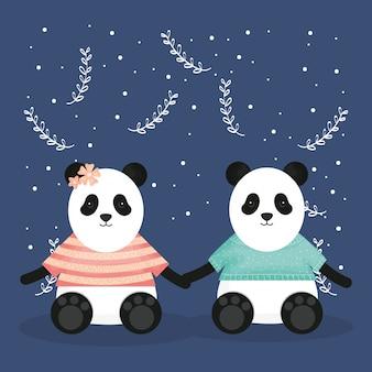 Linda pareja lleva panda con personajes de ropa.