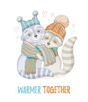 Linda pareja de mapaches de navidad. para el diseño de impresión de tarjetas de felicitación o camisetas.