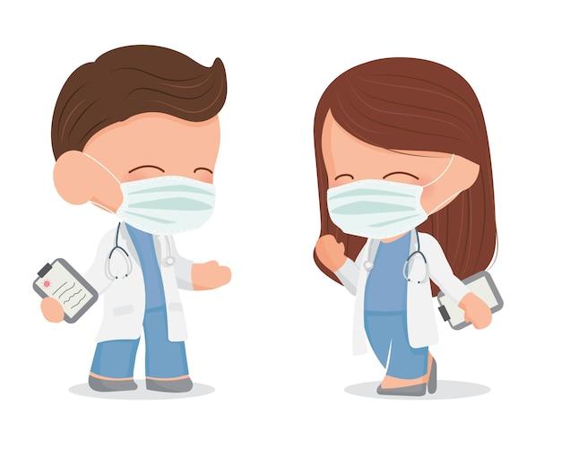 Linda pareja de médicos jóvenes con mascarilla sobre seguridad del virus corona