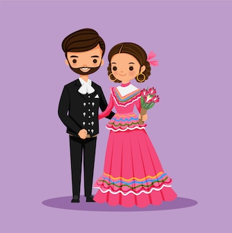 Linda pareja mexicana para fiesta fiesta
