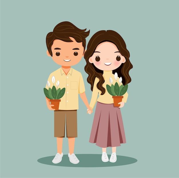Linda pareja de niño y niña con personaje de dibujos animados de plantas