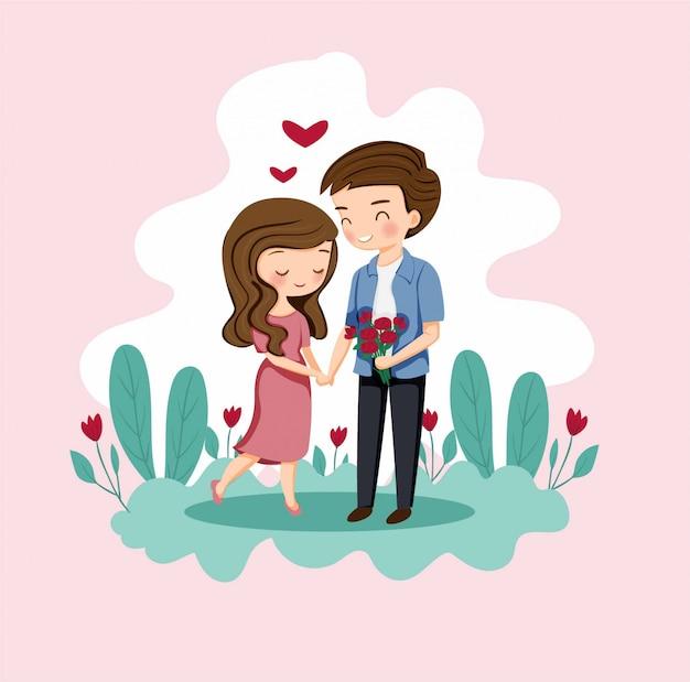 Linda pareja de niño y niña con rosa para el día de san valentín