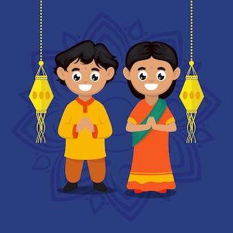 Linda pareja de niños con ilustración de personaje de tema de festival de diwali india