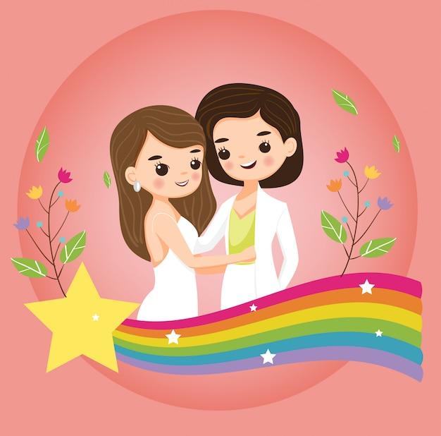 Linda pareja de novias lesbianas con etiqueta de orgullo