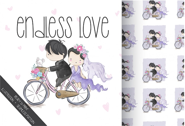 Linda pareja de novios en bicicleta de patrones sin fisuras