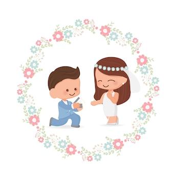 Linda pareja de novios en estilo plano de corona de flores para el día de san valentín o tarjeta de boda