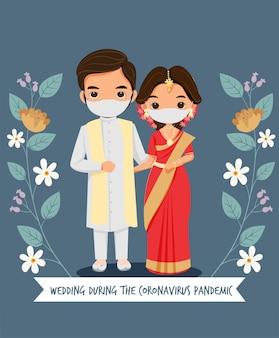 Linda pareja de novios con mascarilla para la boda durante la epidemia de coronavirus