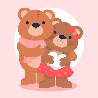 Linda pareja de osos de san valentín