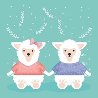 Linda pareja de ovejas con personajes de ropa