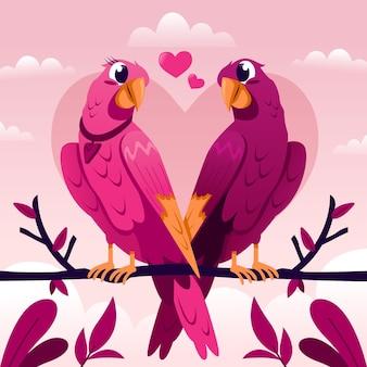 Linda pareja de pájaros del amor del día de san valentín