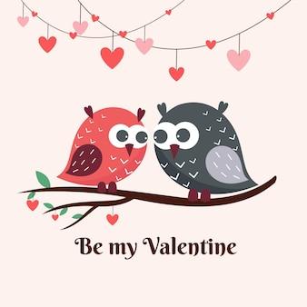Linda pareja de pájaros de san valentín