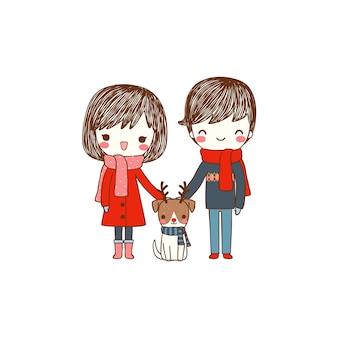 Linda pareja con perro en traje de invierno