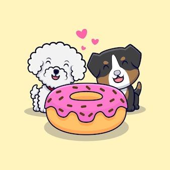 Linda pareja de perros detrás de una ilustración de icono de dibujos animados de donut
