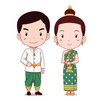 Linda pareja de personajes de dibujos animados en traje tradicional de laos.