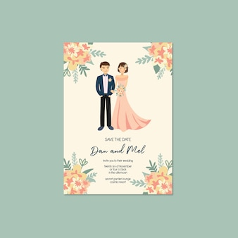 Linda pareja retrato ilustración invitación de boda guardar la plantilla de fecha