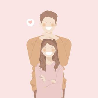 Linda pareja romántica se abrazan con su sonrisa feliz