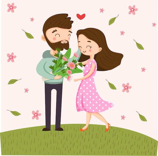 Linda pareja romántica en una cita con un ramo de flores