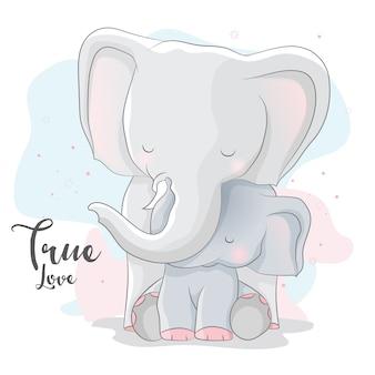 Linda pareja romántica elefante