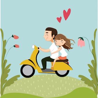 Linda pareja romántica montando motocicleta