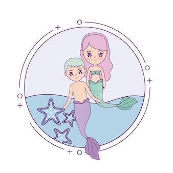 Linda pareja sirenas con mar en marco circular