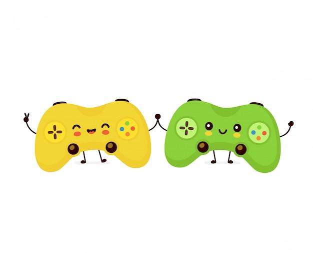 Linda pareja sonriente joystick juego