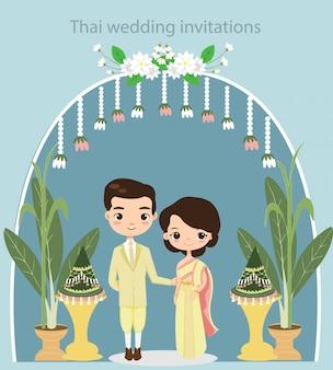 Linda pareja tailandesa en tarjeta de invitaciones de boda