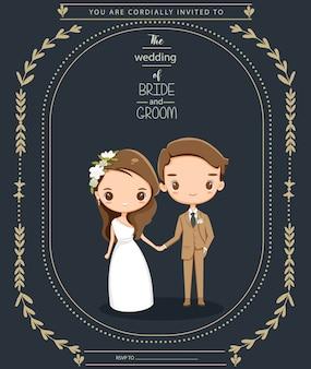 Linda pareja en tarjeta de invitaciones de boda